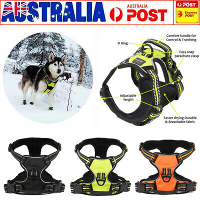 No-pull Pet Dog Harness Reflective Outdoor Vest Adjustable Padded Handle 3M AU