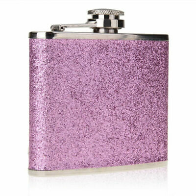 5oz Stainless Steel Flagon Portable Liquor Wine PU Leather Sparking Gift Purple