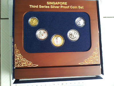 2013 SINGAPORE 3rd Series Silver Proof Coin Set, 5 pcs with Special Stand & Box