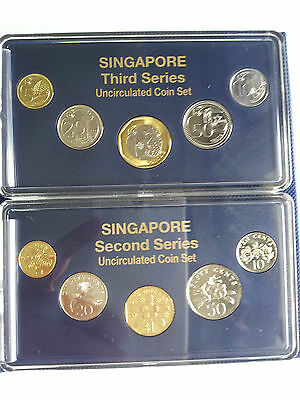 2013 SINGAPORE 2nd & 3rd Series Uncirculated Coin Sets in Plastic Holder & Album