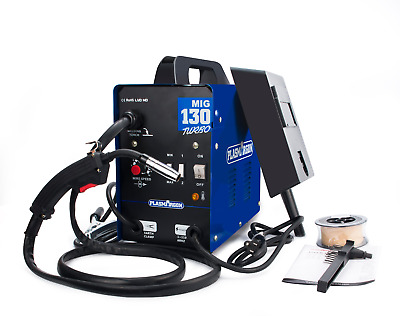 MIG 130 Portable Welder 230v DC No Gas Welding Gasless 120 Amps & Consumables