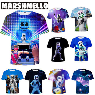 8e1baf9be Marshmello T-shirt Edm DJ Music Short Sleeve Top Unisex Basic 3D Tee 9 Size
