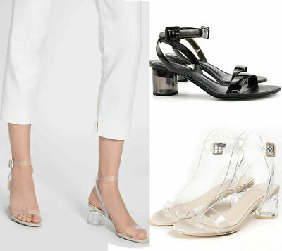Womens Ladies Ankle Strap Sandals Clear Low Mid Perspex Block Heel Shoes Party