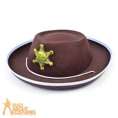 Adult Deluxe Sheriff Hat Brown Faux Suede Depute Gold Star Western Outlaw