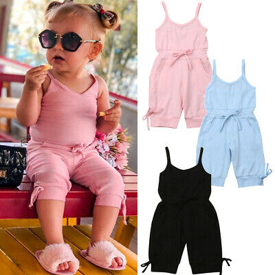 6672e3ce7697e Toddler Kids Baby Girl Summer Dungarees Bib Pants Romper Overalls Outfit  Clothes
