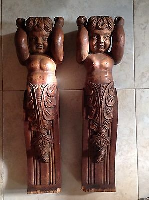 Pair Of Antique Pillars Corbels Architectural Hand Carved Oak Wood Cherubs Putti