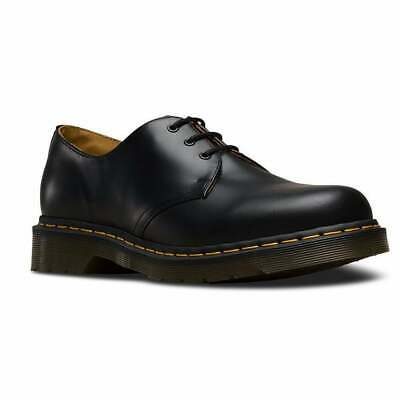 f882b91ee6e DOC MARTENS MENS Black 3 Eyelet 1461 Shoe with Contrast Yellow Stitching