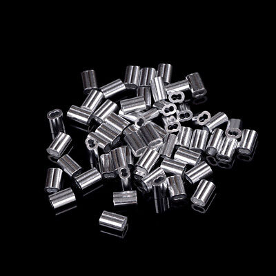 50pcs 1.5mm Cable Crimps Aluminum Sleeves Cable Wire Rope Clip Fitting BIN.