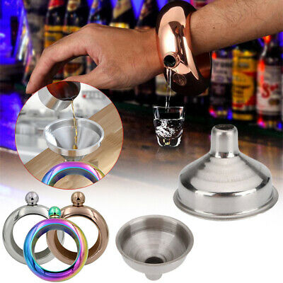 5456 Creative Bracelet Bangle Hip Flask Stainless Steel Funnel Travel Alcohol