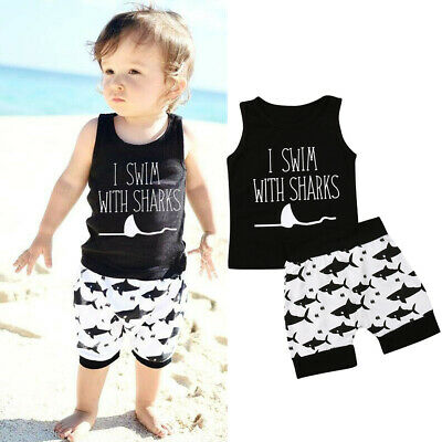 2pcs Summer Baby Boy T-shirt Tops Shark Short Pants Outfit Toddler Kids Clothes
