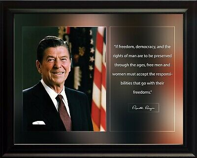 """Ronald Reagan /"""" Freedom is never.../"""" Autograph Quote 8 x 10 Photo Picture #fn2"""