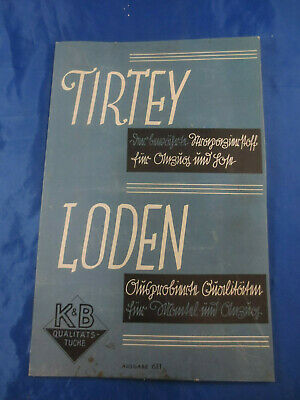 Seltenes Stoff - Musterbuch Stoffmuster um 1937 Loden-Stoffe Tirtey
