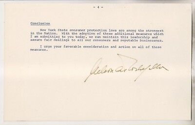 New York State Governor Nelson Rockefeller Signed Document