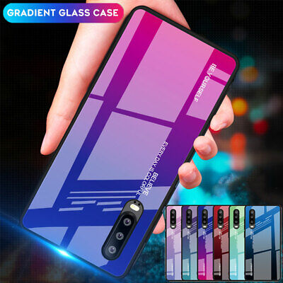 Hybrid Gradient Temper Glass Hard Case for Huawei P30 P20 Mate 20 Pro/Lite Cover