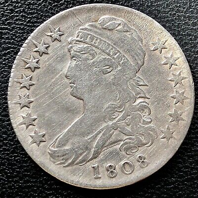 1808 Capped Bust Half Dollar 50c Rare Higher Grade #15237
