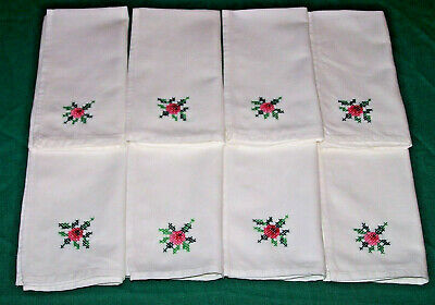 """8 Vintage Hand Embroidered Napkins, 16"""",  Rose Floral Cross Stitch, Snow White"""