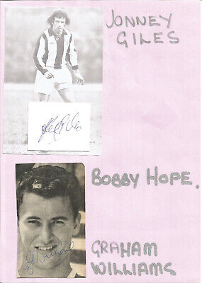 Football Autographs Johnny Giles & Graham Williams West Bromwich Albion F548