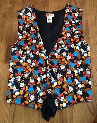 Vintage Silk Disney Vest Mickey Donald Goofy See No Evil ...Speak No Evil S/M