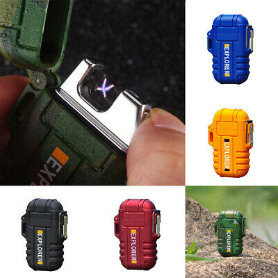 Waterproof USB Rechargeable Double Arc Safe Windproof Cigarette Lighter Soft