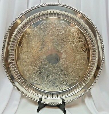 "Pilgrim Plate Silver Plated Decorative Pierced Rim 16"" Round Tray  #4000"