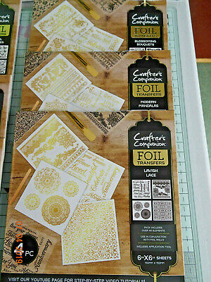 Brand New & Sealed-Crafter's Companion-6 X Packs Of Foil Transfers/6 Packs Foils