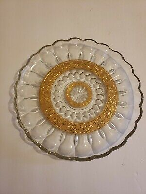 """Culver Rose Print Round Serving Plate Tray Clear and Gold Mid Century Large 10"""""""