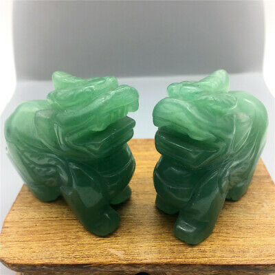 Natural dongling jade hand carved mascot kylin a male and a female