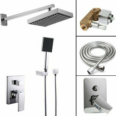 "8"" Chrome Rain Shower Kits Set Wall Mount Shower Head System Mixer Faucet TO"