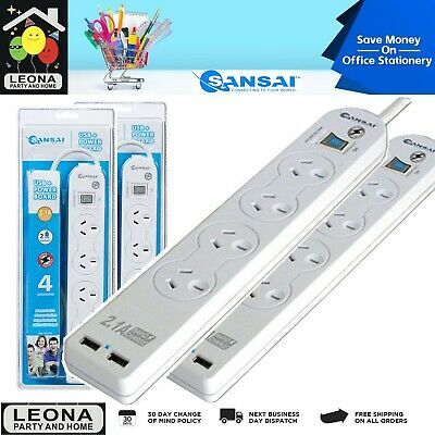 x2 Sansai 4 Way Power Board 2.1A USB Charger Outlet Surge Protected Lead Cord AU