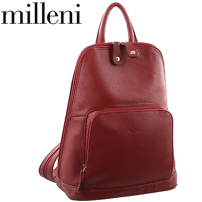 Milleni Women's Twin Zip Backpack Nappa Italian Leather Rucksack Travel - Red
