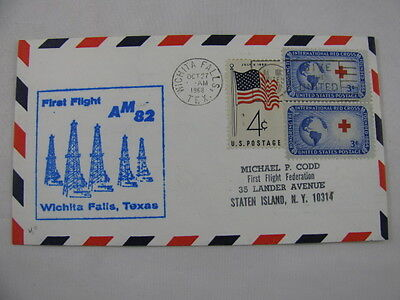 FFC Flight USA Route AM 82 Oil Fields Red Cross Flag Wichita Falls Dallas 1968