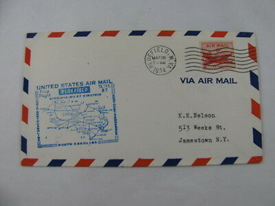 FFC Flight Air Mail A.M. 87 Plane Bluefield West Virginia Cincinnati Ohio 1954