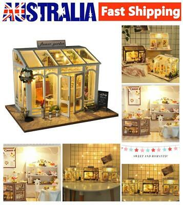 DIY Handcraft LED Wooden Dollhouse Miniature Furniture Kit Toy Doll House AU