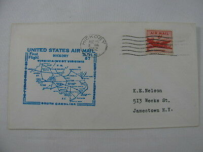 FFC Flight Air Mail A.M. 87 Plane Hickory North Carolina Louisville Kentucky 52