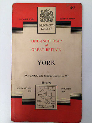 RARE ANTIQUE c1960  COMPLETE ORDNANCE SURVEY MAP OF YORK SHEET 97