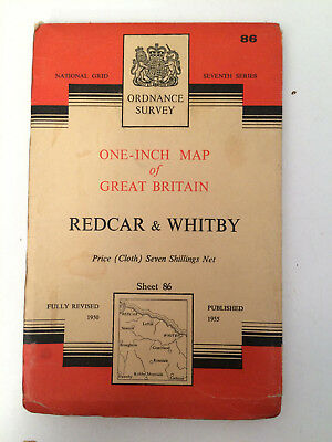 RARE ANTIQUE c1955  COMPLETE ORDNANCE SURVEY MAP OF REDCAR & WHITBY SHEET 86