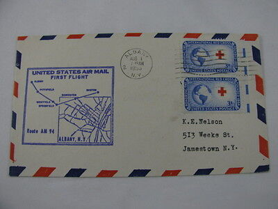 FFC Flight Route AM 94 Red Cross Globe Albany New York Boston Massachusetts '53