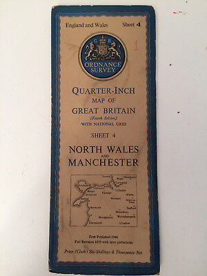 RARE ANTIQUE c1946  COMPLETE ORDNANCE SURVEY MAP OF N WALES + MANCHESTER SHEET 4