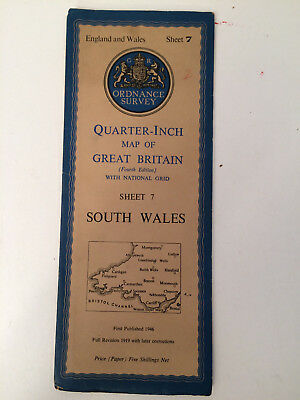 RARE ANTIQUE c1946  COMPLETE ORDNANCE SURVEY MAP OF SOUTH WALES SHEET 7