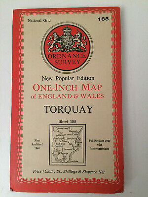 RARE ANTIQUE c1946  COMPLETE ORDNANCE SURVEY MAP OF TORQUAY SHEET 188