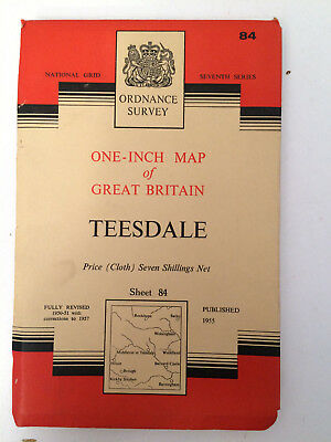 RARE ANTIQUE c1957  COMPLETE ORDNANCE SURVEY MAP OF TEESDALE SHEET 84