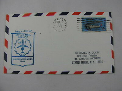 FFC First Flight Cover USA Route AM 8 Plane Beaumont Houston Texas 1968