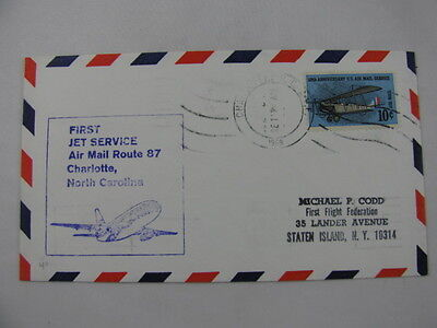 FFC First Flight Cover USA Air Mail Route 87 Plane Charlotte Memphis 1968