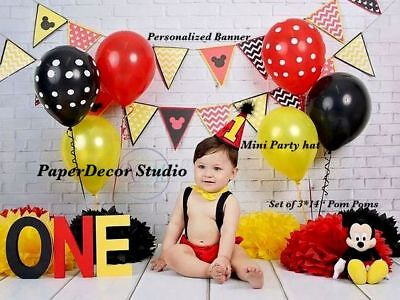 1st First Birthday Mickey Mouse Party Decorations Banner Pom Pom Tassel Garland