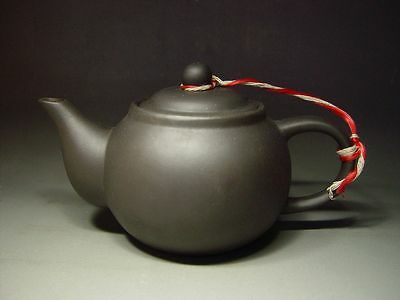 ANTIQUE CHINESE YIXING EARTH CLAY 'PINGNI' POTTERY TEAPOT, w/ MARK. 20th C