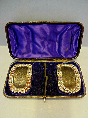 EARLY VICTORIAN PAIR OF DIAMANTE SHOE BUCKLES IN ORIGINAL PADDED CASE, c 1850.