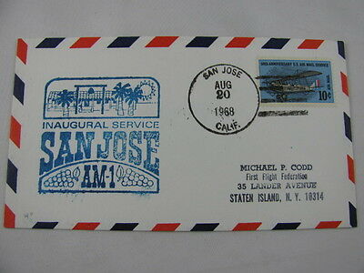 FFC First Flight USA Route AM 1 Plane Palm Tree Sun San Jose Washington 1968