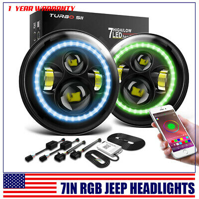 "2x 90W LED 7"" Headlights Bluetooth RGB Halo Ring For 1997-2018 Jeep Wrangler JK"