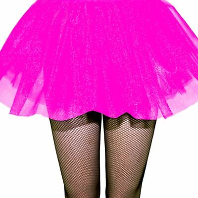 Adults Ladies 80s Neon Club Disco Rave Pink UV Tutu Skirt Fancy Dress Hen Party