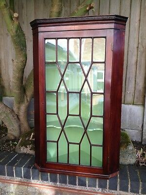 Antique Georgian Corner Cupboard Large Inlaid Mahogany Old Wall Hanging Cabinet